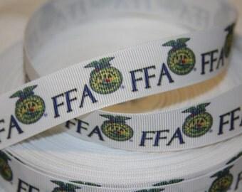 "FFA - Future Farmers of America inspired 7/8"" wide Grosgrain Ribbon"