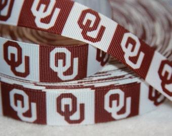 "Oklahoma Sooners inspired 7/8"" Grosgrain Ribbon"