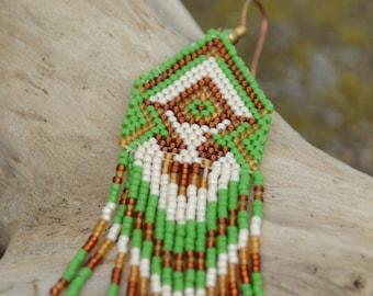 Green and gold beaded earrings - beadwork jewelry - ethnic style - fringe earrings - dangle earrings - Native American style