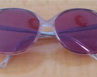 "Vintage Women's REGENCY EYEWEAR Blue Rose Sunglasses Style ""Tara"" Acetate Clear HIPSTER"