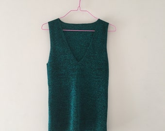 90s Mermaid Blue Glitter Tank Top