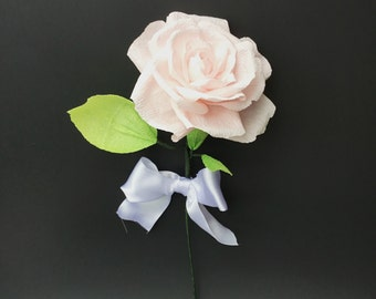 Paper Rose with Bling, Light Pink Paper Flower with Rhinestone Crystal Accents