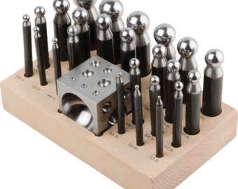 25 pc Doming Block and Punch Set made of Steel Dapping In Stock FREE P&P