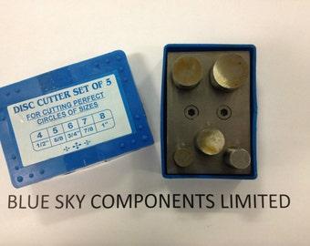 "Metal Disc Cutter Set 5 Piece 1/4"" - 1"" Jewellers Heavy Duty Steel Construction"