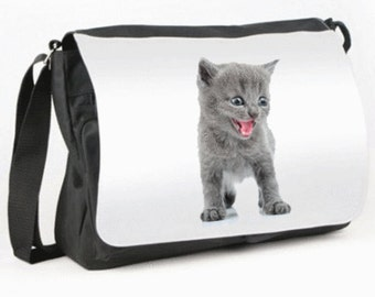 Grey Kitten Messenger / Reporter bag