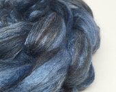 merino, alpaca, silk blended roving, spinning fibre, felting fiber - St Ives - 100g, blue, brown, black