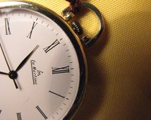 Silver Pocket Watch with white dial and Roman numerals, SWISS MADE quartz movement.