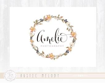 Watercolour Logo, Floral Logo, Shabby Chic Logo, Boho Logo, Florist Logo, Wedding Logo, Business Logo, Photography Logo