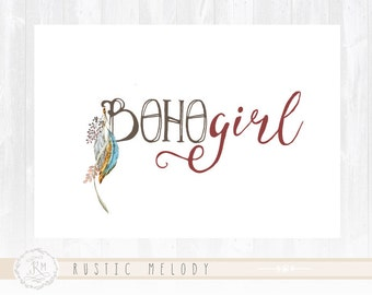 Boho Chic Logo Design Bogo Girl Logo Vintage Logo Boutique Logo Photography Logo Feather Logo Rustic Logo