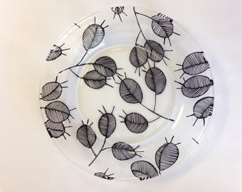 Hand Painted Modern Leaf Clear Glass Plate
