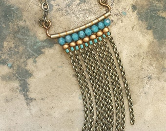 Woven Fringe Necklace, Antique Brass Chain Fringe, Turquoise & Bronze, Boho Style, Bead Weaving >> Long or Short: You Pick!