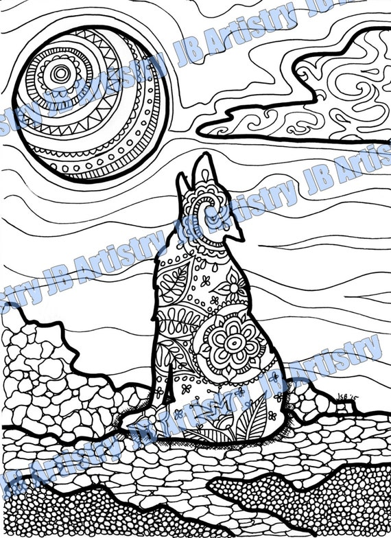 intricate wolf pup coloring pages - photo#14