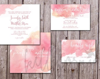 Watercolor Invitation Package, Water Color Invitation, Pink Floral Invitation, Spring Wedding, Summer Wedding