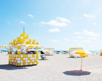 Miami Beach Yellows, Miami Beach Print, Beach Umbrellas