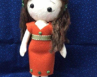 Prewtty brunette felt doll