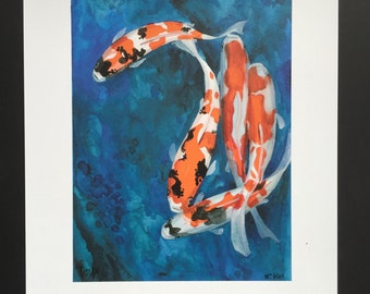 "Koi Fish art 8.5"" X 10.5"""