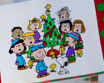 "Adorable hand painted ""Peanuts Gang"" Charlie Brown Christmas step stool"