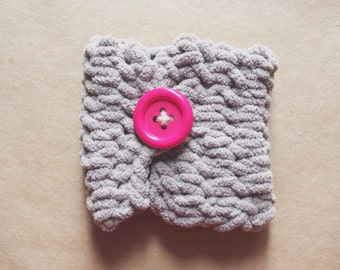 Knit Coffee Cozy - Pink Button