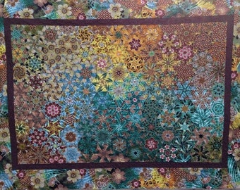 Brown Bed Quilt, Wall Quilt, Blue Quilt, Stack And Wack Quilt, Kaleidoscope Quilt, Natural Colors, Blanket, Earth Tones, Tapestry