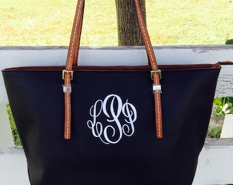 Monogram Purse Bag Tote/ Monogram Black Pocketbook, Black monogram purse/ Classic Black purse/ Designer Inspired Tote/ Leather purse