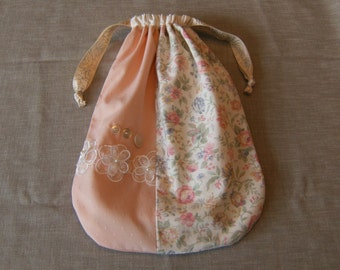 "Shabby Chic Purse, 10"" x 14"" Bag, Drawstring Bag, Pink Purse, Upcycled Purse, Cloth Purse, Pink Floral Bag, Lined Drawstring Bag"
