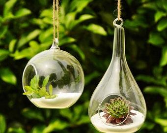 Air Plant Planter Holder // Teardrop Plant Terrarium // 4 Inch Hanging Orb Terrarium // Indoor Planter Gardening // Glass Candle Holders