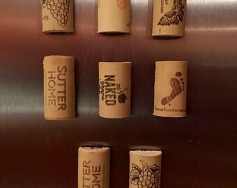 Wine cork magnets - set of 8