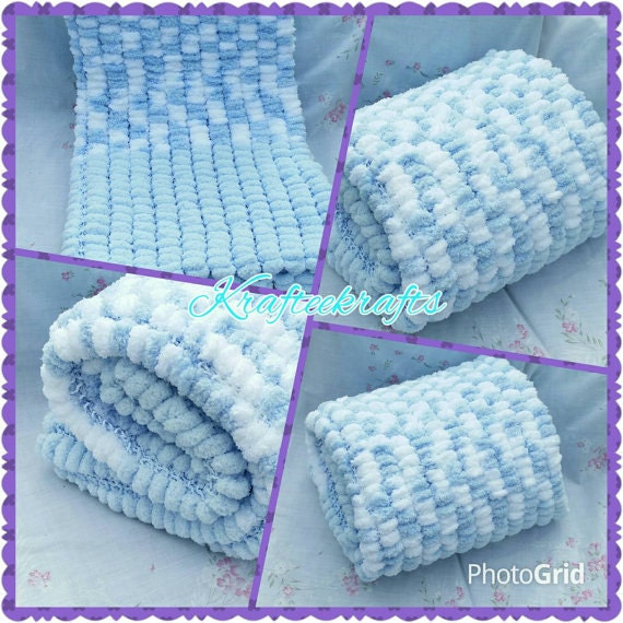 Knitting A Baby Blanket With Pom Pom Wool : Blue baby blanket pom wool white hand by