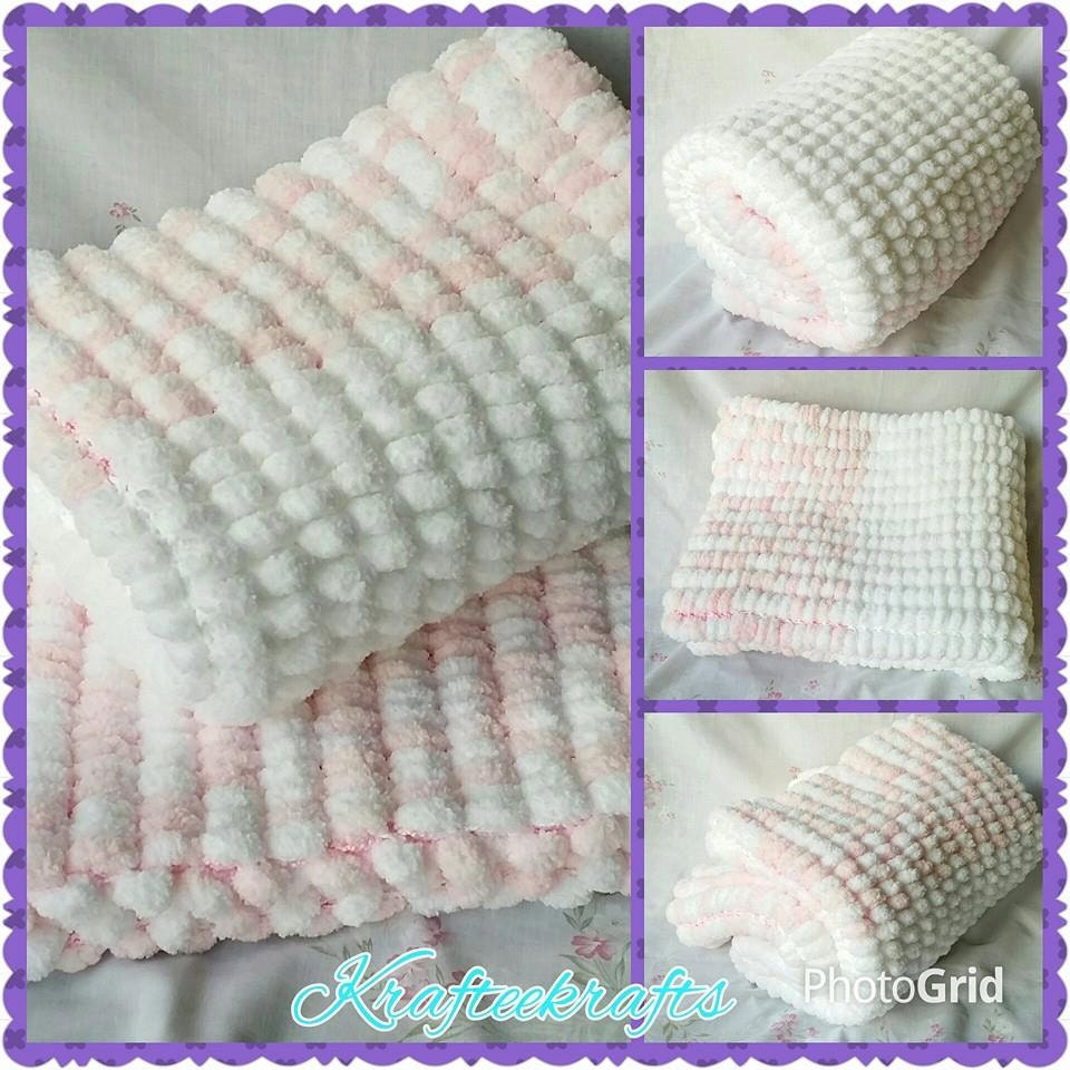Knitting A Baby Blanket With Pom Pom Wool : Pink baby blanket pom wool hand knitted by krafteeknits