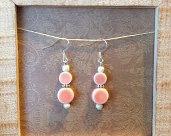 Double pink earrings