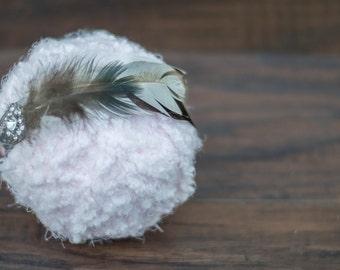 Newborn Tieback with Feathers , Headband, Baby, Photography Prop