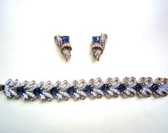 Sale!!!Vintage Nina Ricci swarovski set ,earrings and bracelet, 1980's