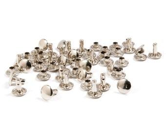 Double Cap Rivets – Nickel Plated – 9mm Cap, 10mm Post