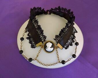 Black Cameo Choker, Victorian choker, Lace Victorian Choker, Gothic Choker, Victorian jewelry, Black lace choker, Steampunk choker