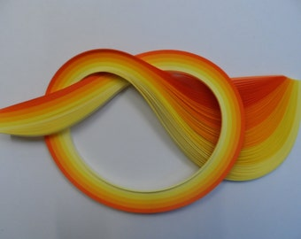 Quilling Paper . Yellows & Orange, 450mm long, 100 Strips.  4 different widths available