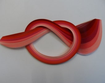 Quilling Paper . Reds and Pinks, 450mm long, 100 Strips.  4 different widths available
