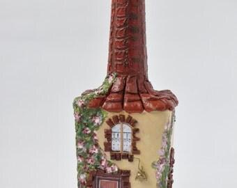 Decorative  wine  bottle ,  altered bottle,  decoupage  bottle,   bottle to decorate,  Vintage  Bottle,  ornamental  bottle.