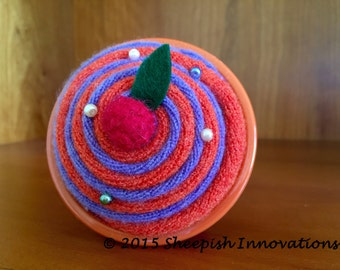 Cupcake Pin Cushion, Felt Pincushion, Orange & Purple Cupcake