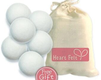 Six Pack Heart Felt Wool Dryer Balls with gift bag