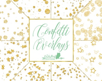 Gold Foil Confetti Clipart Overlays | Gold Photo Overlays | Confetti Clipart | Gold Confetti | Gold Foil Photo Overlays | Set of 8 PNG Files