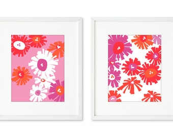 Asters - SET OF 2 - 8x10 prints, pink and red flowers, graphic floral, wall art, bunches of asters, home décor