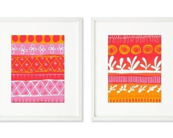 Les Baux - SET OF 2 - 8x10 prints, contemporary abstract graphic, hand-rendered, organic forms, pink and orange, graphic design, bold colors
