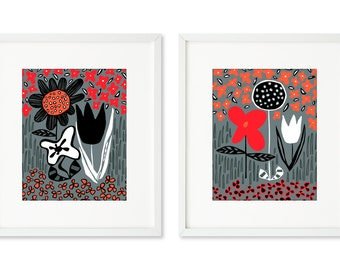 Mixed Flower Garden - SET OF 2 - 8x10 prints, graphic floral, garden, tulips, sunflower, groundcover, woodcut look, red, black, and white