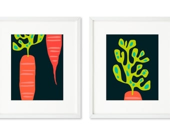 Carrots - SET OF 2 - 8x10 prints, graphic carrots, carrot top, root vegetable, contemporary kitchen art, orange and green carrots, cooking