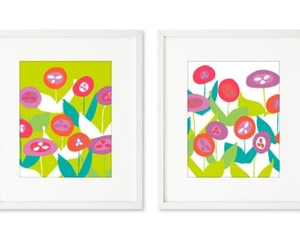 Poppy Field - SET OF 2 - 8x10 prints, brightly colored poppies, field of flowers, flower power, happy graphic flowers, green, red, purple