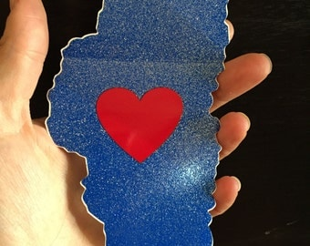 Lovin Lake Tahoe Sticker - Original Design - Heart inside Tahoe - Glitter - weatherproof