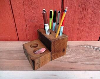 Reclaimed Wood Desk Organizer / Pencil and Pen Holder  / Handmade / Rustic / Barn wood / End Grain / Reclaimed Oak