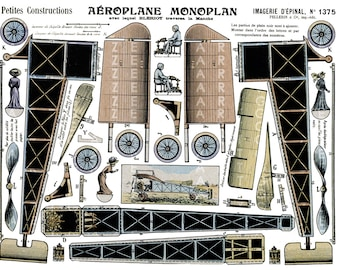 French Antique Mono Plane Paper Toy. Imagerie Pellerin Airplane Paper Model. Epinal Airplane Digital Download.