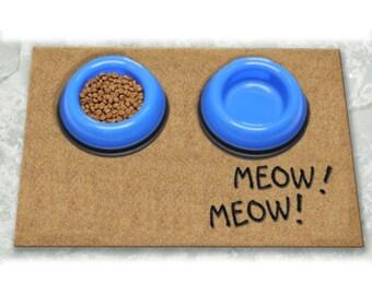 D60747 - 12 x 18 DuraCoir Pet Mat - Meow! Meow! Non-Personalized