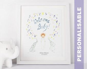 Welcome Baby! Art Print, Baby Shower Gift, Children's Wall Art, Print, Newborn Gifts, Nursery Art, Kid's Wall Art, Birth Announcement,